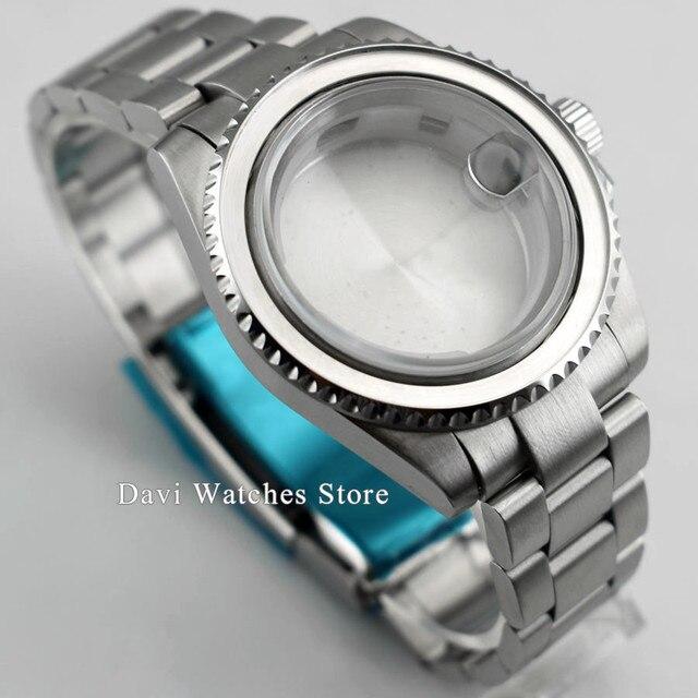 40mm haute qualité saphir cristal 316L en acier inoxydable argent montre cas fit ETA2836 mis5 82 série mouvement automatique