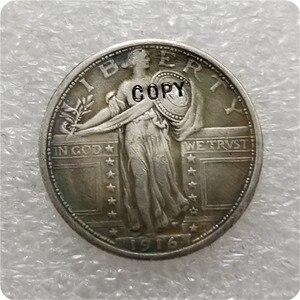 США, 1916-P, копия памятных монет «стоящая свобода», четверть, копия монет, копия монеты, медаль коллекционные монеты