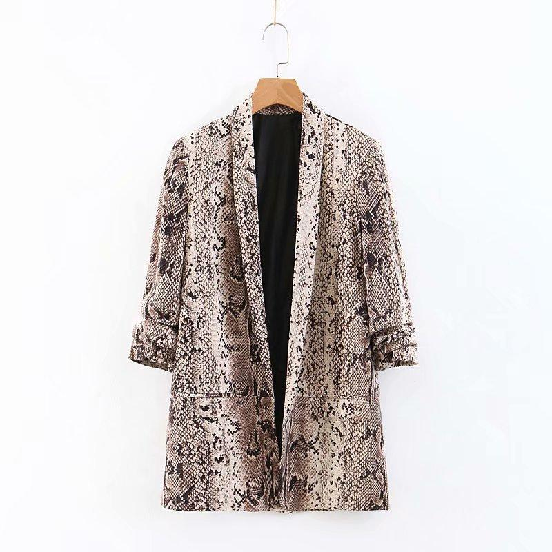 Women Snake Print Blazer Suit Fashion Long Sleeve Jacket Female Vintage Spring Print Pockets Blazer Femme 2020 Sale Items