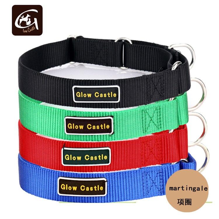 Glow Castle Dog Traction Martingale Training Neck Ring Pure Nylon Pet Collar-