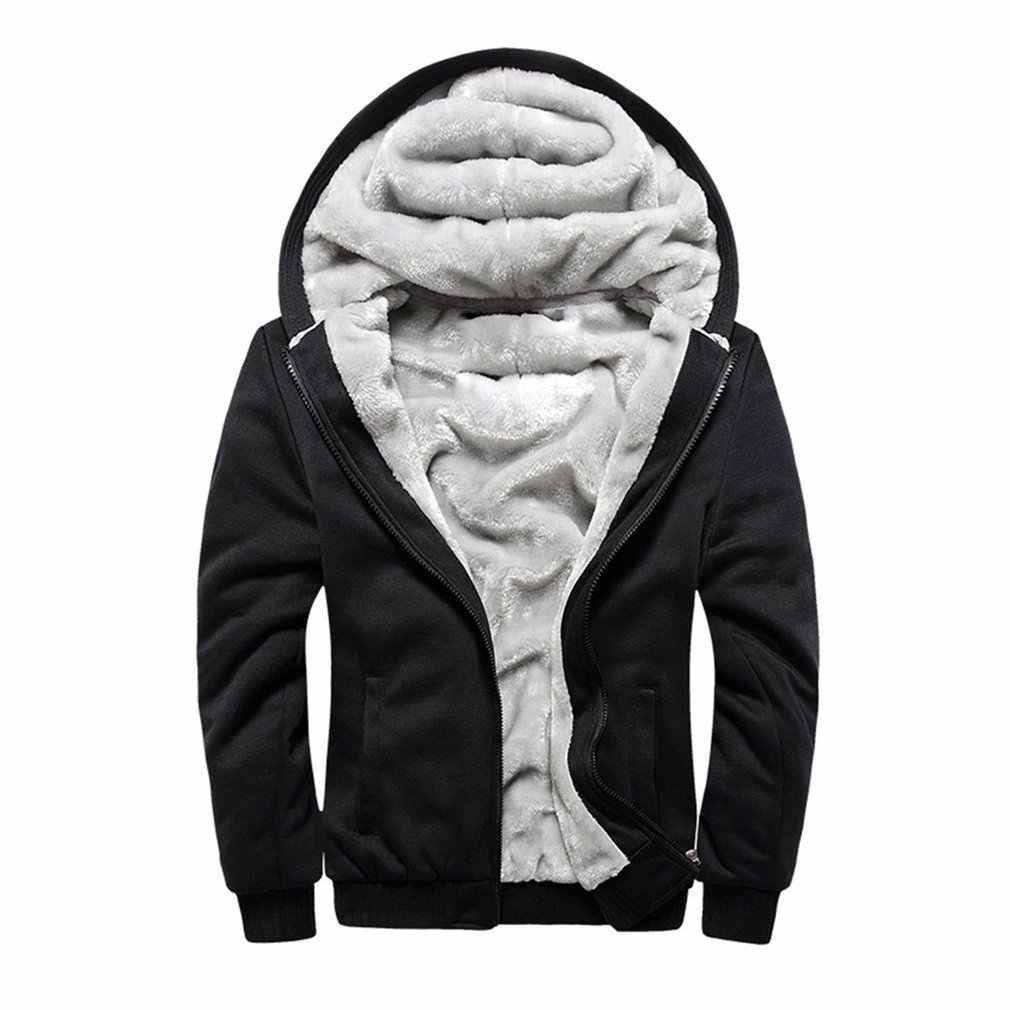 Moda inverno jaqueta masculina com capuz casaco masculino 2018 marca casual zíper engrossar veludo com capuz homem poliéster agasalho venda