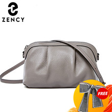Zency New Model Women Messenger Bag 100% Genuine Leather High Quality Small Hobos Bags Daily Casual Lady Shoulder Bag Black Grey