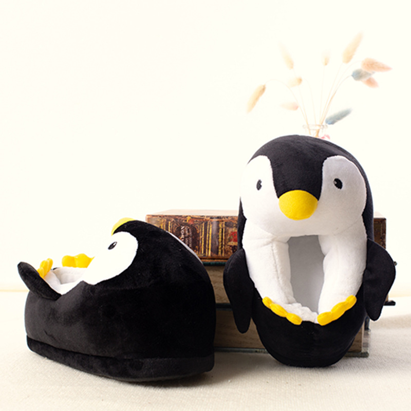 Kids Winter Home Cotton Shoes Soft Non-slip Fluffy Slippers Cute Cartoon Plush Slippers women Animals Penguin Indoor Shoes 1
