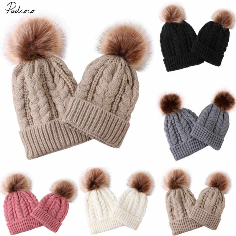 Womens Mother Baby Matching Knitting Pom Bobble Hat Kids Winter Warm Beanie Cap