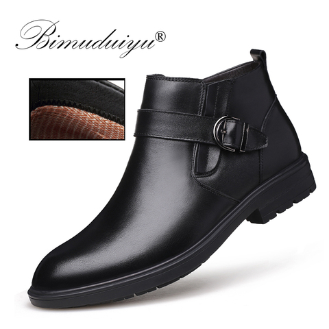 BIMUDUIYU Men Autumn Genuine Leather Boots With Fur Winter Men Fashion Ankle Boots Business Casual Man Snow Boots Work Shoes Lahore