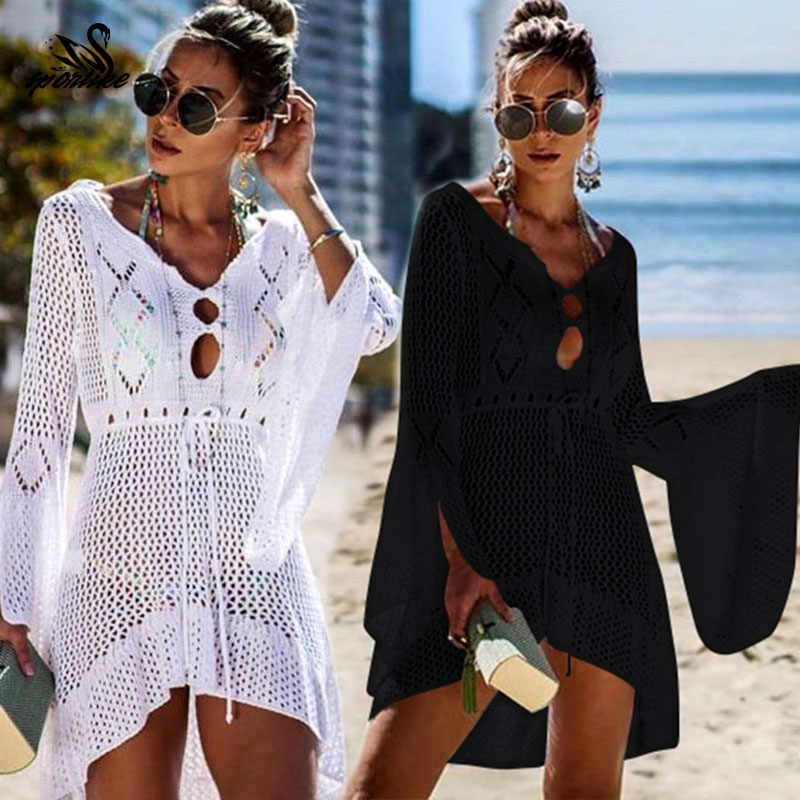 2019 Crochet Bianco Lavorato A Maglia Beach Cover up dress Tunica Lunga Parei Bikini Cover up Swim Cover up Veste Plage Beachwear