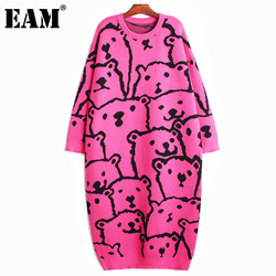 [EAM] Women  Big Size Animal Pattern Knitting Dress New Round Neck Long Sleeve Loose Fit Fashion Tide Autumn Winter 2021 1DD0715