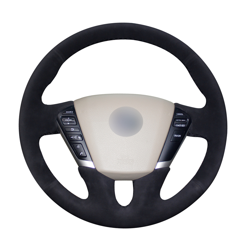 Hand-stitched Black Suede <font><b>Car</b></font> Steering <font><b>Wheel</b></font> <font><b>Covers</b></font> Wrap for Nissan Teana 2008-2012 Murano (Z51) 2009-2014 Quest 2011-2017 image