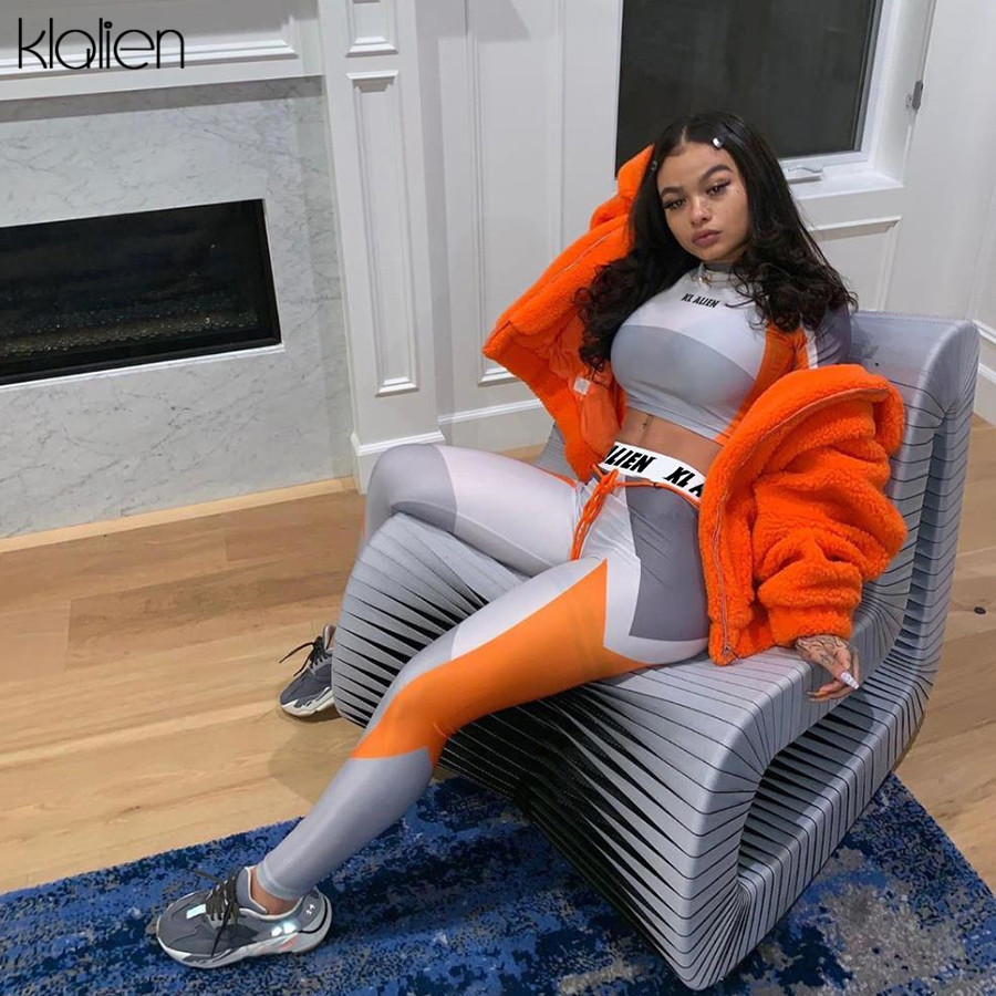 KLALIEN Printing Exclusive Customization High Elastic Fitness Top + Sport Leggings Pant 2020 Tracksuit 2 Piece Different Styles