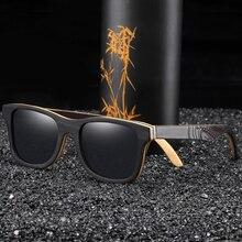EZREALหรูหราแว่นกันแดดVintageสีดำกรอบแว่นตากันแดดไม้แว่นตากันแดดPolarizedผู้ชายแว่นตากันแดดไม้ไผ่