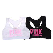 Vest Sport Underwear Teen Bra Racerback Training Pink Girl Cotton Letter Spandex