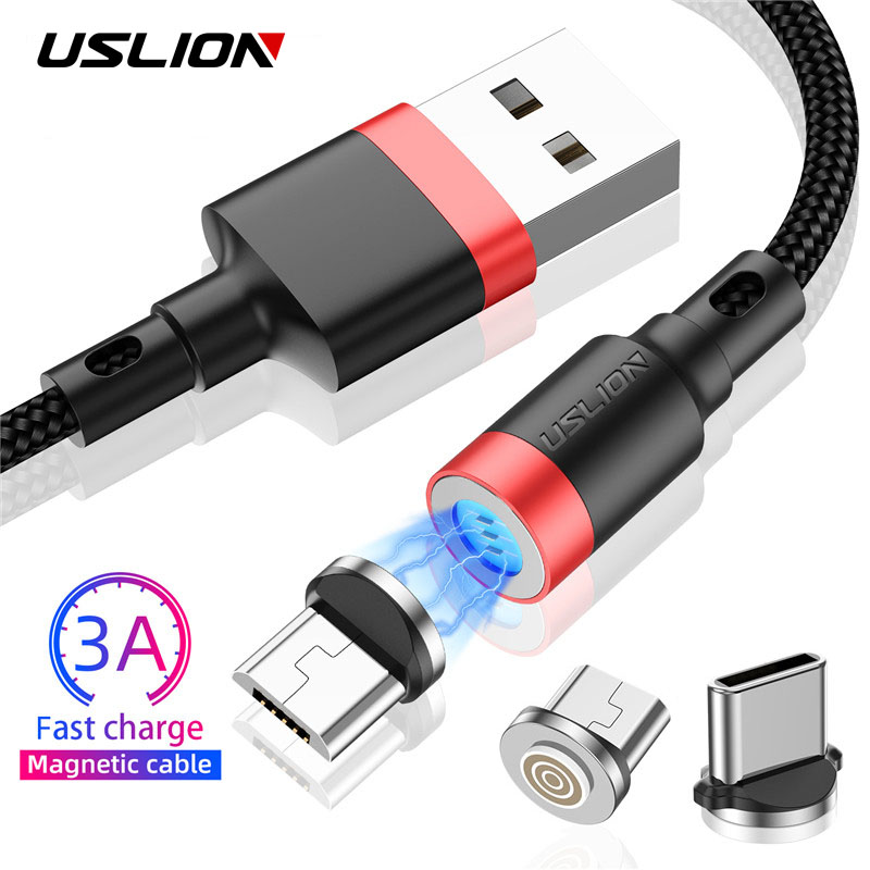 USLION Magnetic Cable 2M 3M 3A Micro USB Type C Cable Fast Charging Type C Cable For Samsung S10 Xiaomi Microusb Magnet Charger|Mobile Phone Cables|   - AliExpress