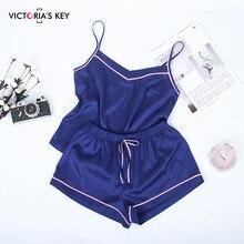 Sufis contraste listra lado da marinha cami top cetim shorts ternos feminino verão casa roupas femininas conjunto pijama sexy
