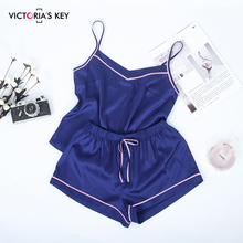 Suphis kontrast şerit yan donanma Cami üst saten şort takım elbise kadın yaz ev giysileri kadın pijama Set seksi pijama