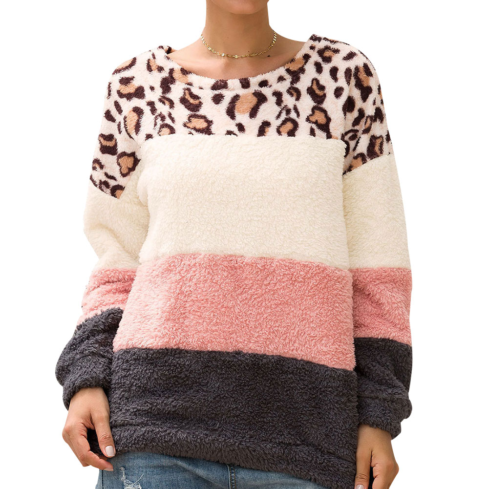 Leopard Stitching Pullover Sweater Women Round Neck Long Sleeve Casual Tops NGD88