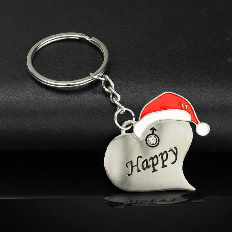 Креативные 1 пара рождественские парные брелки для ключей металлические счастливые рождественские шляпы карабин для ключей брелок для влюбленных подарки для мужчин Автомобильный держатель для ключей