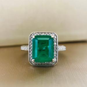 Image 2 - PANSYSEN Vintage Emerald diamond Gemstone Women Rings Top Brand New Wedding Anniversary 925 Sterling Silver Ring Wholesale Gifts