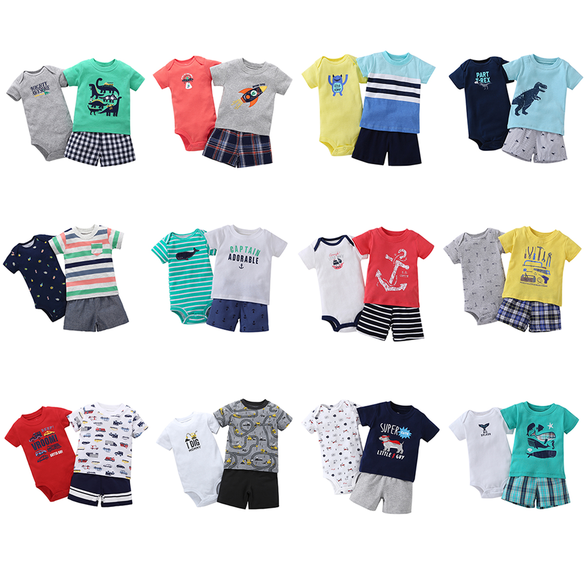 3 pcs suit Newborn Baby Romper Summer Set 8