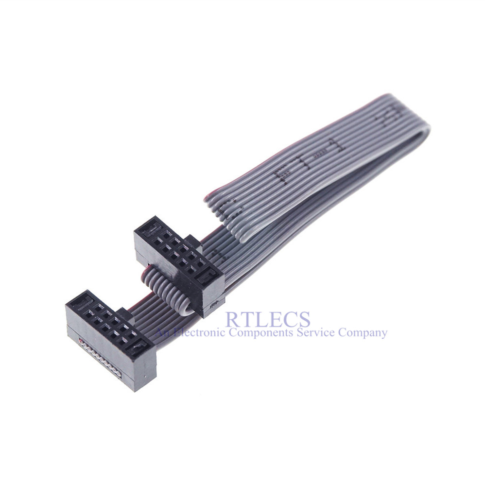 20pcs 10 Pin 1 27 Mm Pitch Idc Socket Extension Flat Ribbon Cable 80 100 120 150 200 250 300 Mm For Isp Jtag Same Directions Connectors Aliexpress