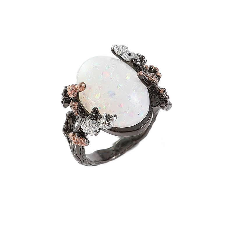 אופנה טבעת zirconia בציר שחור גדול ביצה בצורת אופל פרח חתונת אירוסין טבעת לאישה יום הולדת מתנה Dropshipping