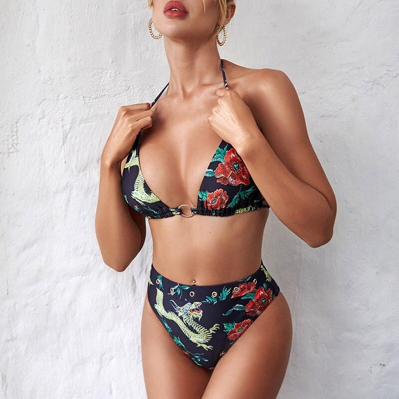 Floral Print Bikinis 2020 Mujer High Waist Bathing Suit Halter Sexy Swimsuit Female Two Piece Ring Biquini Brazil Swimwear Women