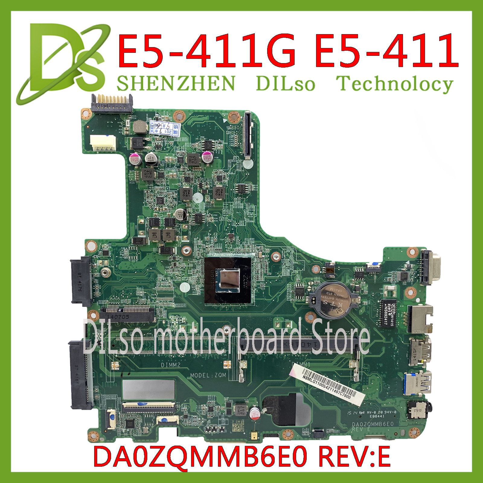 KEFU DA0ZQMMB6E0 Motherboard ACER Aspire E5-411 E5-411G Laptop Motherboard NBMLQ11006 DDR3  100% Tested