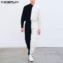Moda uomo tute Patchwork Joggers risvolto Chic manica lunga bottoni pagliaccetti Streetwear uomo Cargo tuta pantaloni S-5XL INCERUN