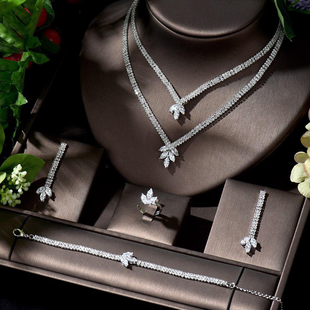 HIBRIDE Hot Wedding Bridal Jewelry Sets for Women Elegant Party Gifts Fashion Cubic Zirconia Big Wedding Jewelry Sets N-1373