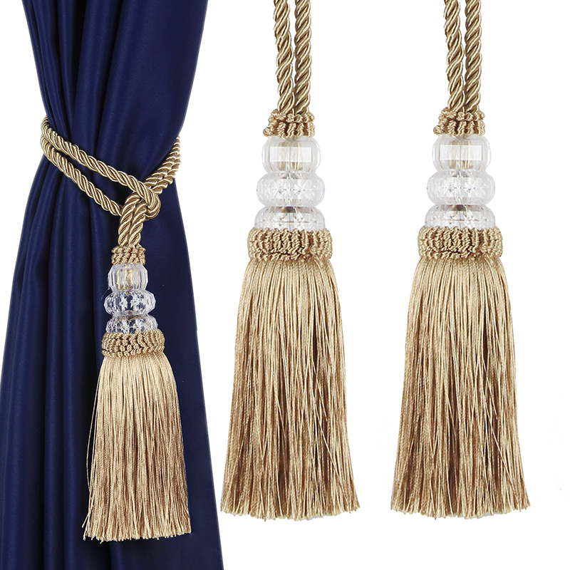 2PC New Crystal Beaded Tassel Curtain Tieback Decorative Curtain Tie Home Decor Cord for Curtains Buckle Rope Room Accessories