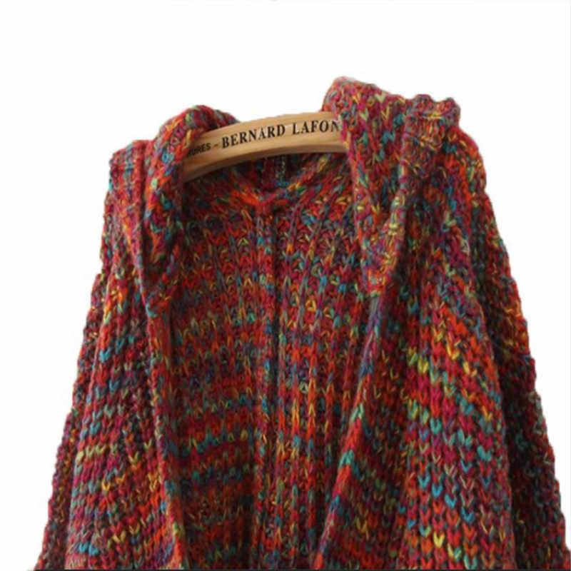느슨한 카디 건 가을 여성 스웨터 코트 여성 한국어 streetwear 패션 레인보우 스웨터 니트 자 켓 후드 lk8563