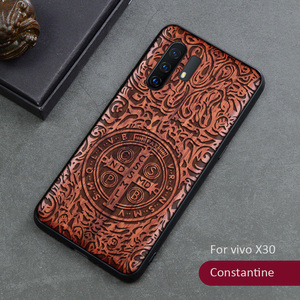 Image 4 - 3D Carved Wood Case For vivo X30 Pro Tree wooden Pattern Embossment carve Cover
