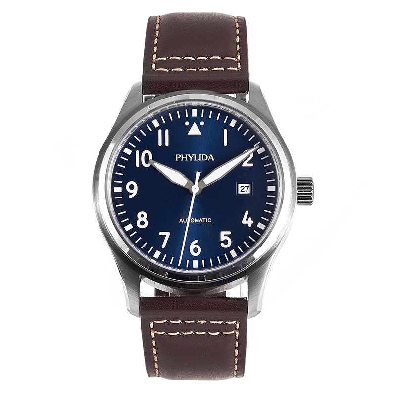 42mm Blue Dial Pilot Watch 5ATM JAPAN MIYOTA Automatic Domed Sapphire Crystal Full Lumed Genuine Leather Strap Little Prince