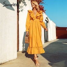 Simplee Plus size women party christmas dress Elegant ruffled cotton solid long dress Chic ladies holiday autumn winter vestidos