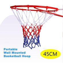 1Set 45cm Portable Wall Mounted Basketball Hoop Goals Rim and Net for Indoor Outdoor Use