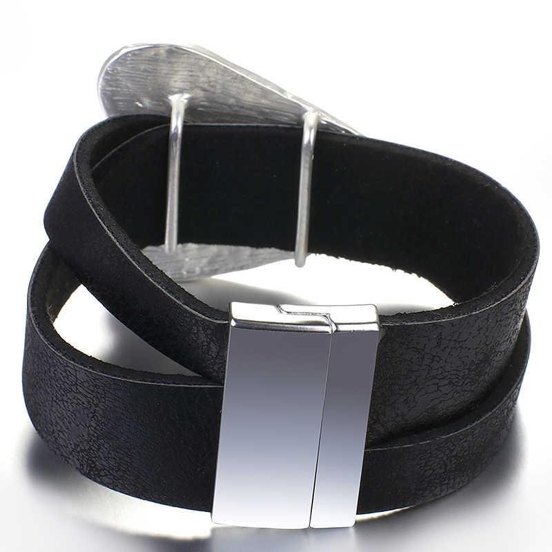 Amorcome coração de metal pulseiras de couro para as mulheres 2020 moda aniversário grande envoltório charme pulseira & bangles feminino jóias presente