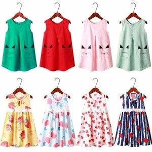 От 1 до 7 лет Платья без рукавов с цветочным принтом для девочек летняя одежда для девочек платье принцессы Детские Вечерние платья танцевал...