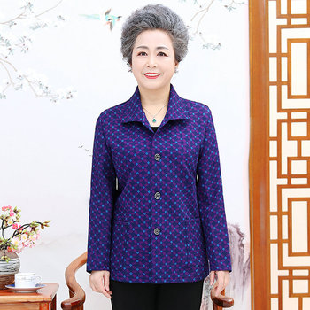 Elderly Women Casual Spring Autumn Shirts Red Purple Flower Printing Long Sleeve Top For Grandma Mother Clothes Plus Size 2020