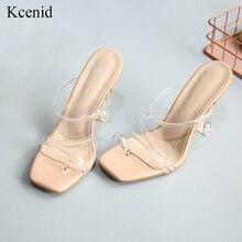 Kcenid nowe przezroczyste strappy galaretki buty kwadratowe toe wysokie sandały na obcasie kobiety wyczyść obcas klapki na lato klapki dla kobiet