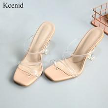 Kcenid חדש שקוף רצועות נעלי גומי בוהן מרובע עקבים גבוהים סנדלי נשים ברור העקב קיץ כפכפים כפכפים לנשים