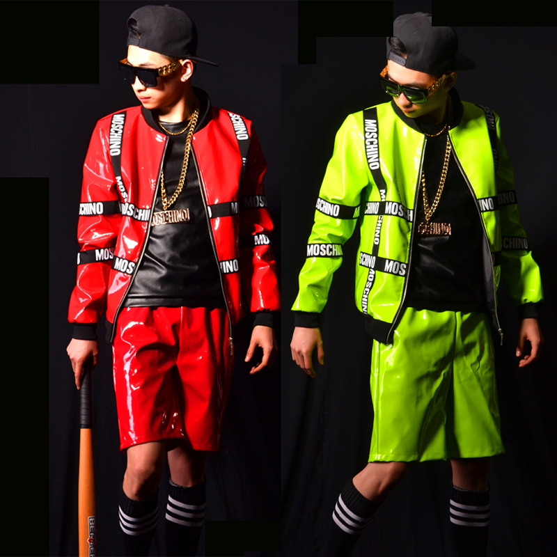 Nightclub Bar Male Leather Long-Sleeved Jacket Shorts Jazz Dance Costume Hip-Hop Rock Singer Drum Performance Costumes DWY3496