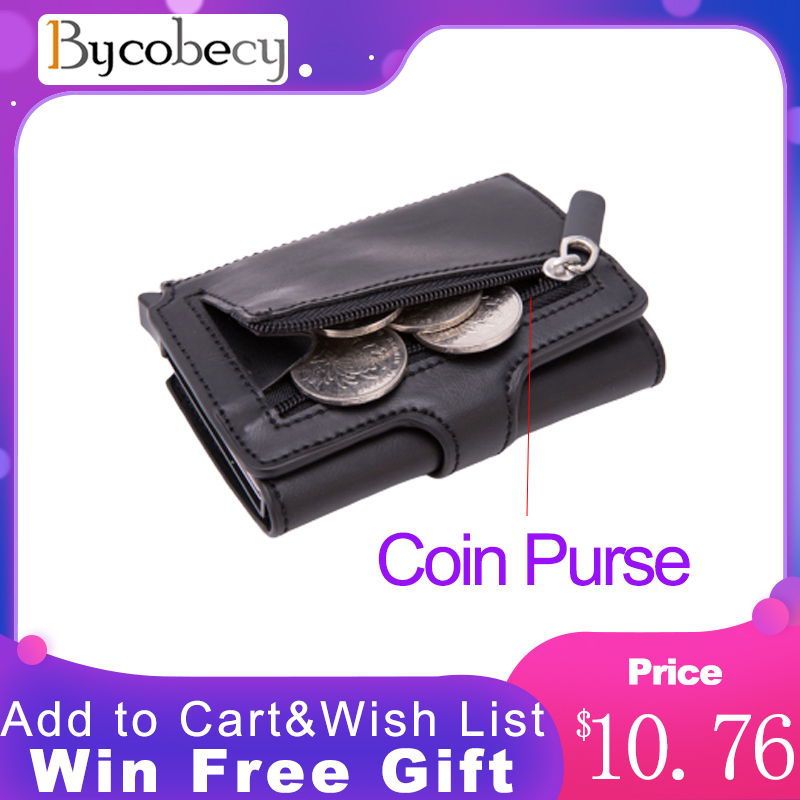 Bycobecy 2020 RFID Travel Wallet Coin Purse Top Quality Men Smart Wallet Fashion Button Money Bag Metal Aluminum Auto Pop-up