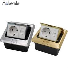купить 2 Way EU Standard Quick / Slow Pop Up Floor Socket Aluminum Alloy Copper Alloy Phone Socket Electrical Wall Switche Power Outlet онлайн