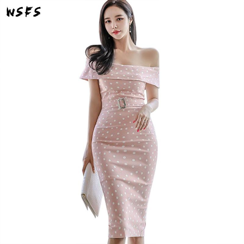Robe dété Vintage élégant point rose coréen femmes robes dîner vêtements moulante anniversaire Sexy fête Wrap robe dété robes