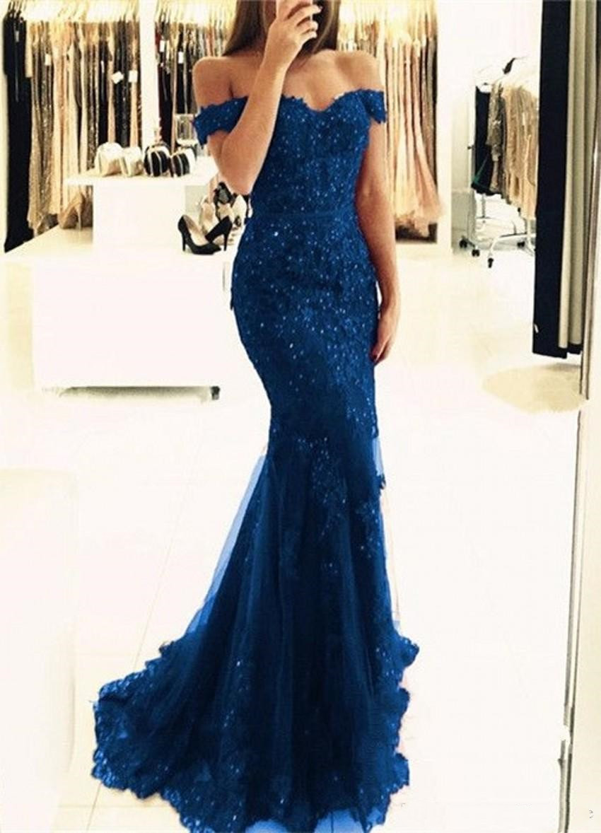 Robe De Soiree Lace Mermaid Appliques Off-the-shoulder Evening Dresses 2020 Vestido De Festa Beaded Sequins Mother Prom Gowns
