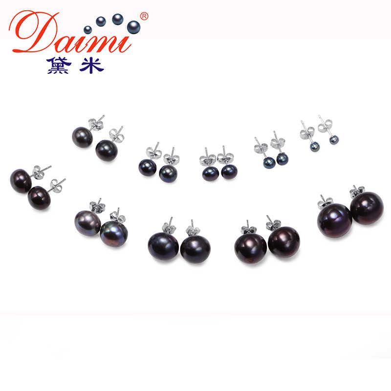 Dmefp151 preto pérola studs brincos 4 tamanho preto de água doce prata 925 jóias requintado pérola brincos para presente feminino
