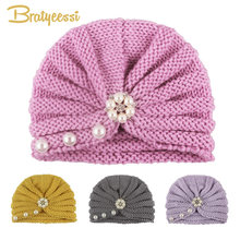 Knitted Baby Winter Hat for Girls 12 Colors Pearls Baby Beanie Turban Hats Kids Cap Newborn Hat for Girls Toddler Accessories(China)
