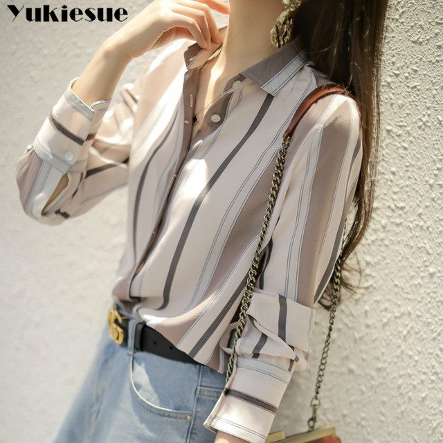 summer long sleeve striped women's shirt blouse for women blusas womens tops and blouses chiffon shirts ladie's top plus size 1