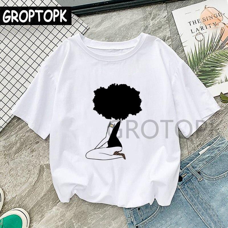 Fajne melaniny czarna dziewczyna druku kobiet T-shirt koszulki harajuku dla kobiet lato Hip Hop bawełna T koszula koszulkę Femme Vogue Top 5