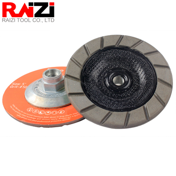 Raizi 5 inch/125mm Diamond Easy Edge Grinding Cup Wheel Ceramic Bond for Concrete Floor Scratches Removal Dry Polishing Disc 5 inch 125mm single row cup wheel for concrete grinding disc grinding wheel bore 22 23mm