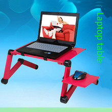 цена на Portable Mobile Laptop Standing Desk For Bed Sofa Laptop Folding Table Notebook Desk With Mouse Pad & Cooling Fan For Office